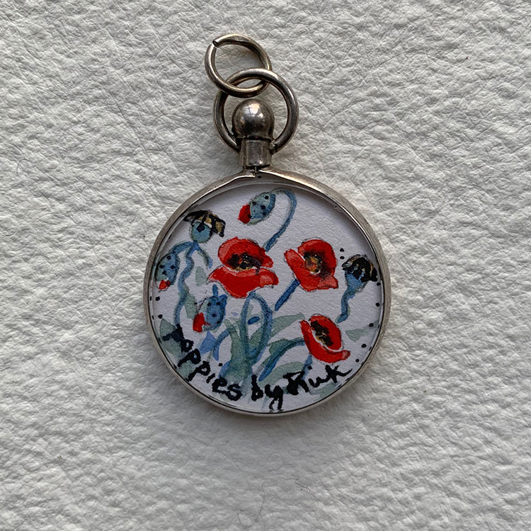 Edwardian silver locket hlmk Birmingham 1905 - Poppies
