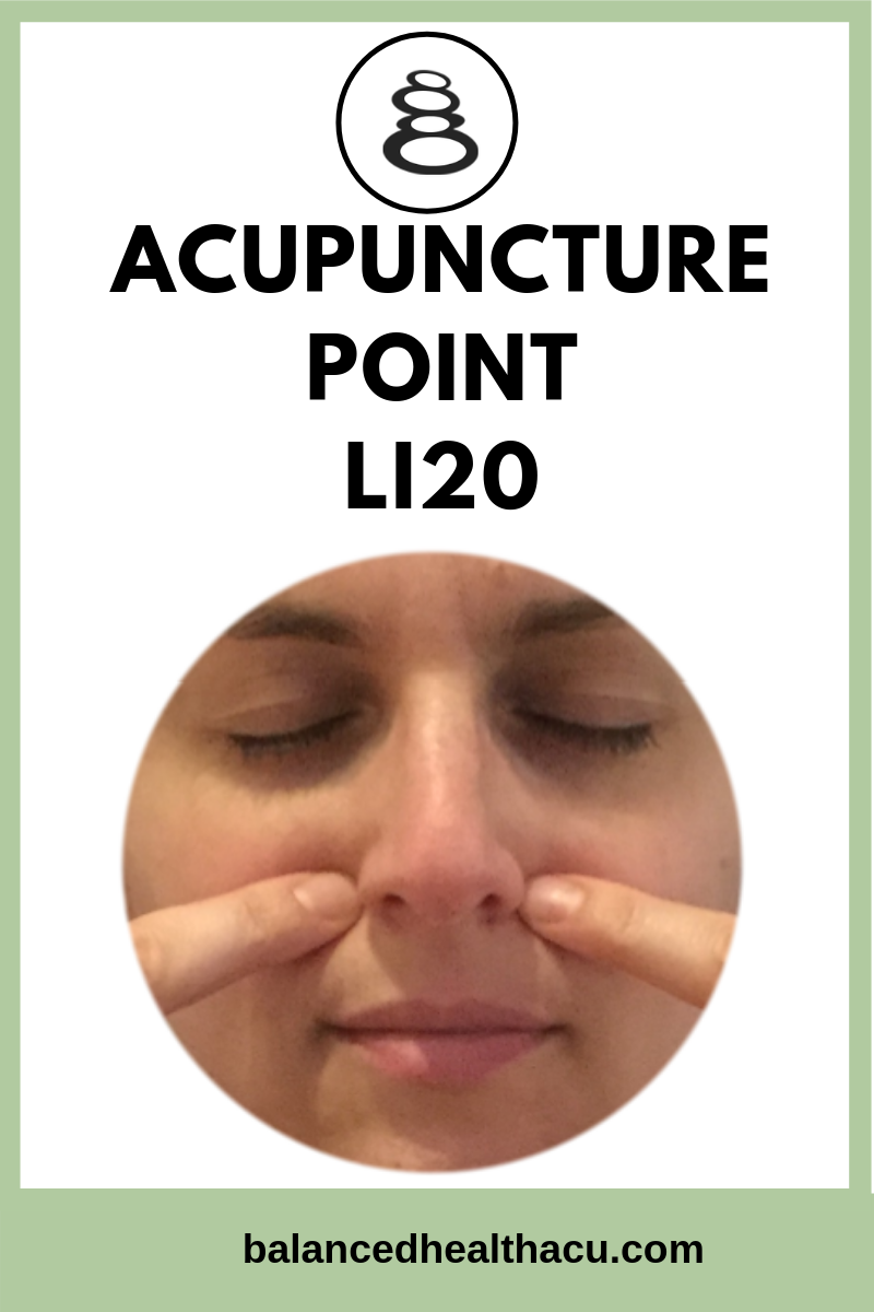 Practice acupressure on the acupuncture point Large Intestine 20 to help treat allergies and clear nasal congestion.