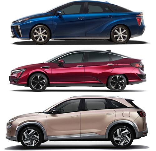 From top to bottom: Toyota Mirai, Honda Clarity, and Hyundai NEXO FCVs