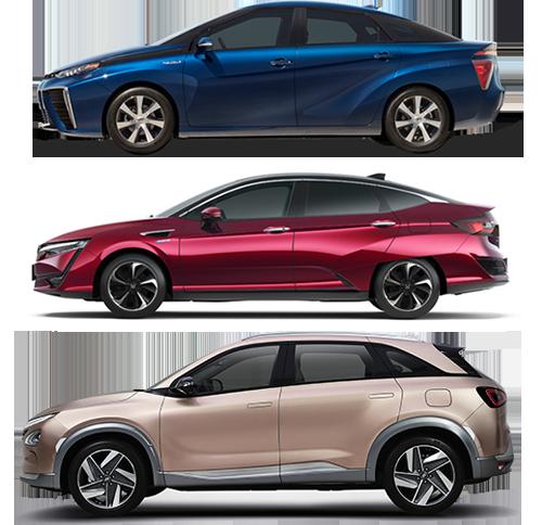 From top to bottom: Toyota Mirai, Honda Clarity, and Hyundai NEXO FCVs