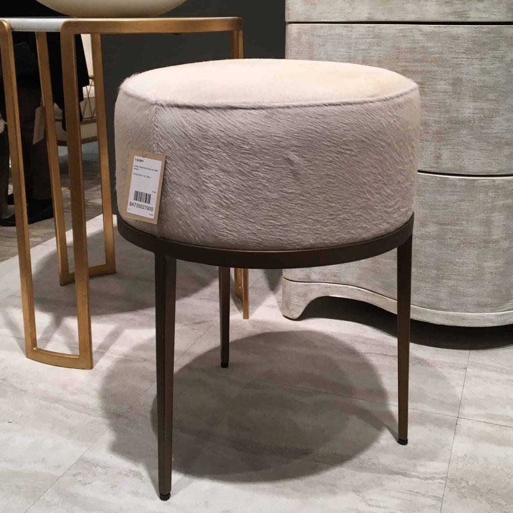 white cowhide stool at las vegas winter market