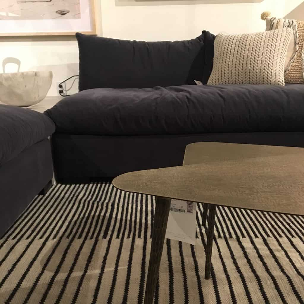 casual velvet sofa with warm metals