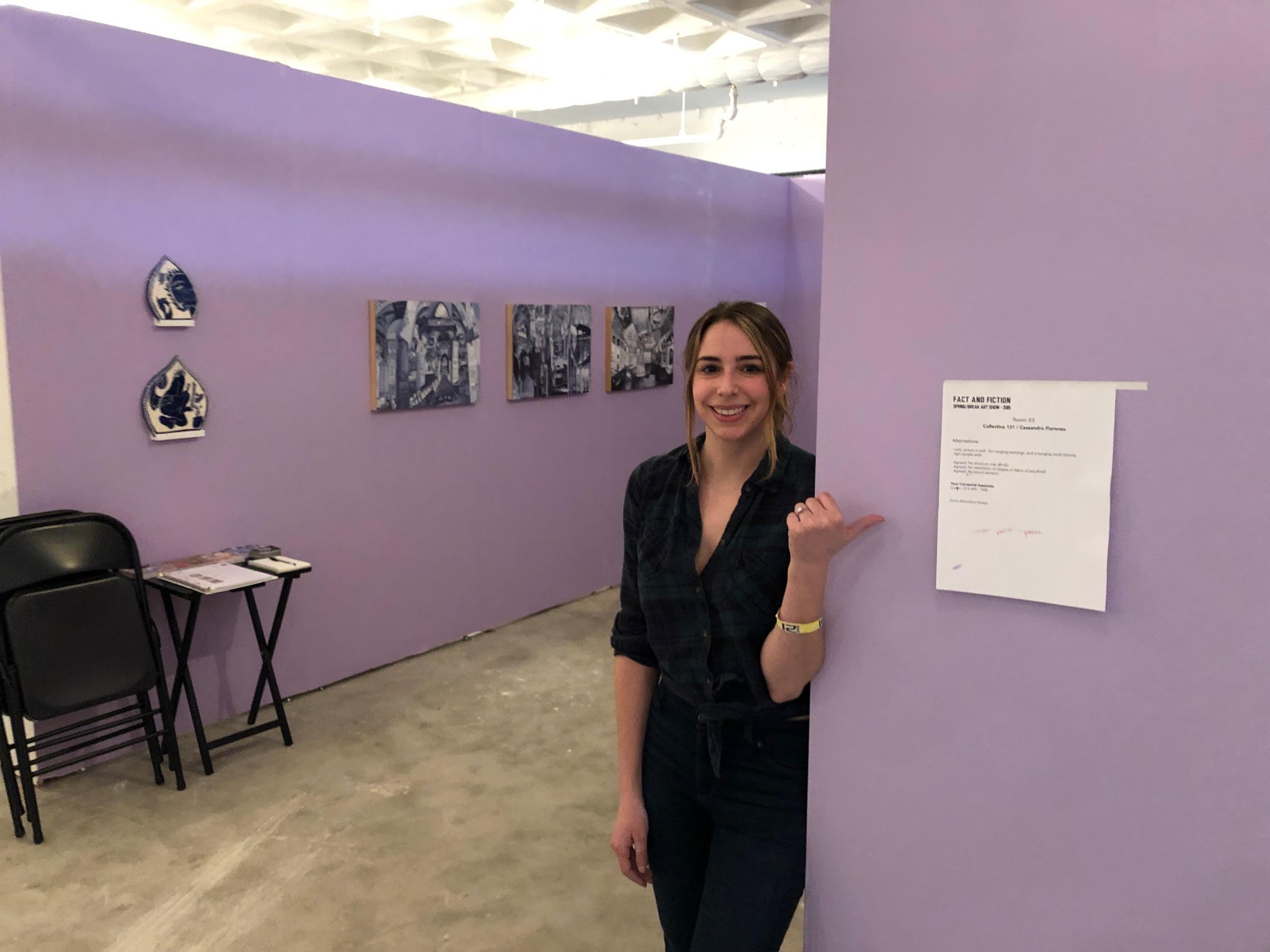 Founder Cassie Fiorenza installing our booth at SPRING/BREAK Art Show NY 2019