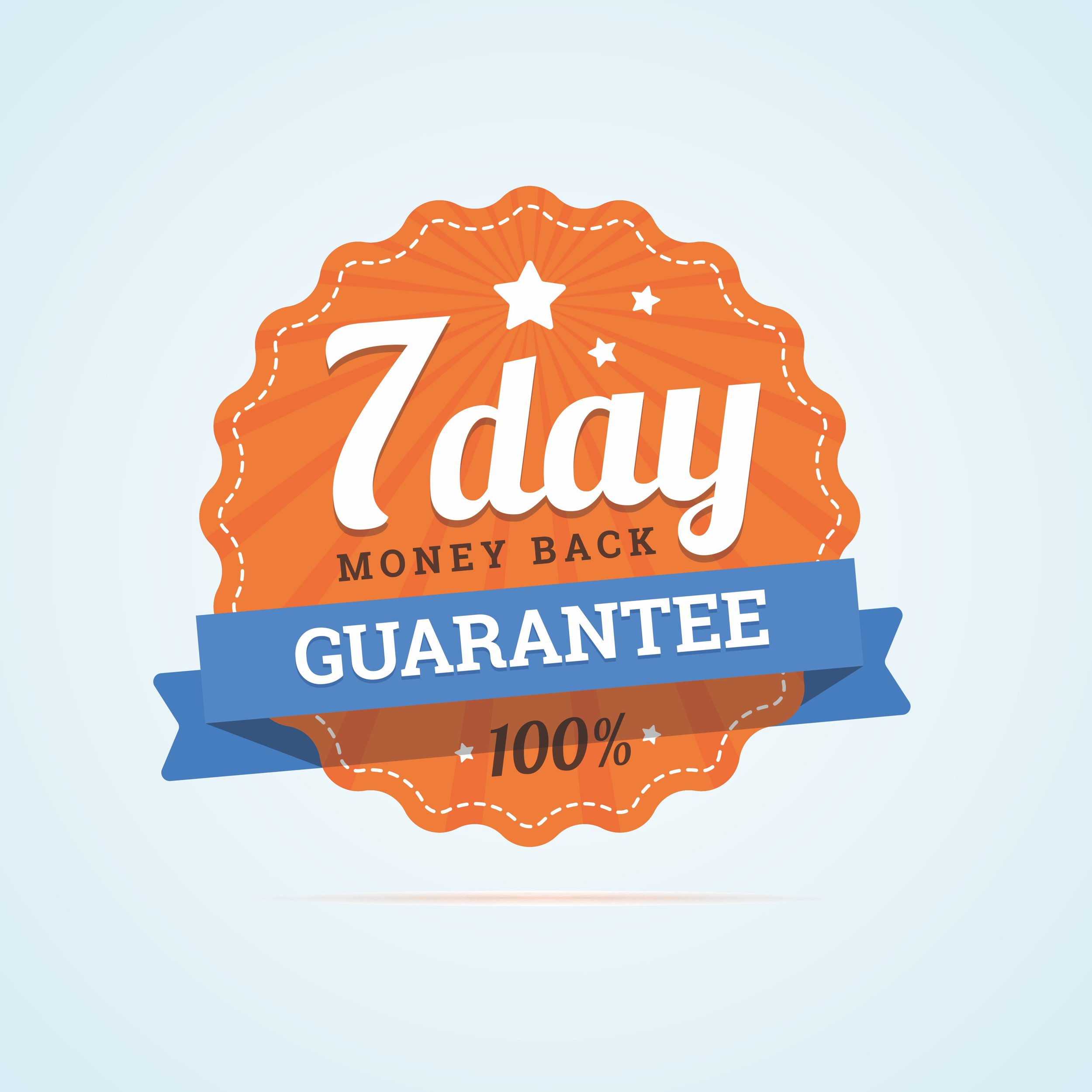 100% GuaranteeTry it for 7 days.Don't like it?We'll give you a full refund.No questions asked. -