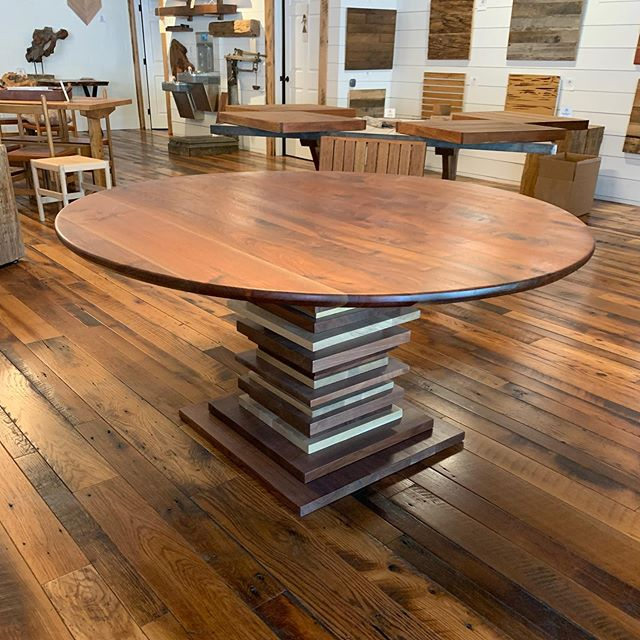 """Introducing our walnut table with a unique walnut & white oak base.  What do you think of this design?  This is 60"""" across. #dm for pricing.  We ship nationwide. #walnut #round #table #nashville #interior #design"""