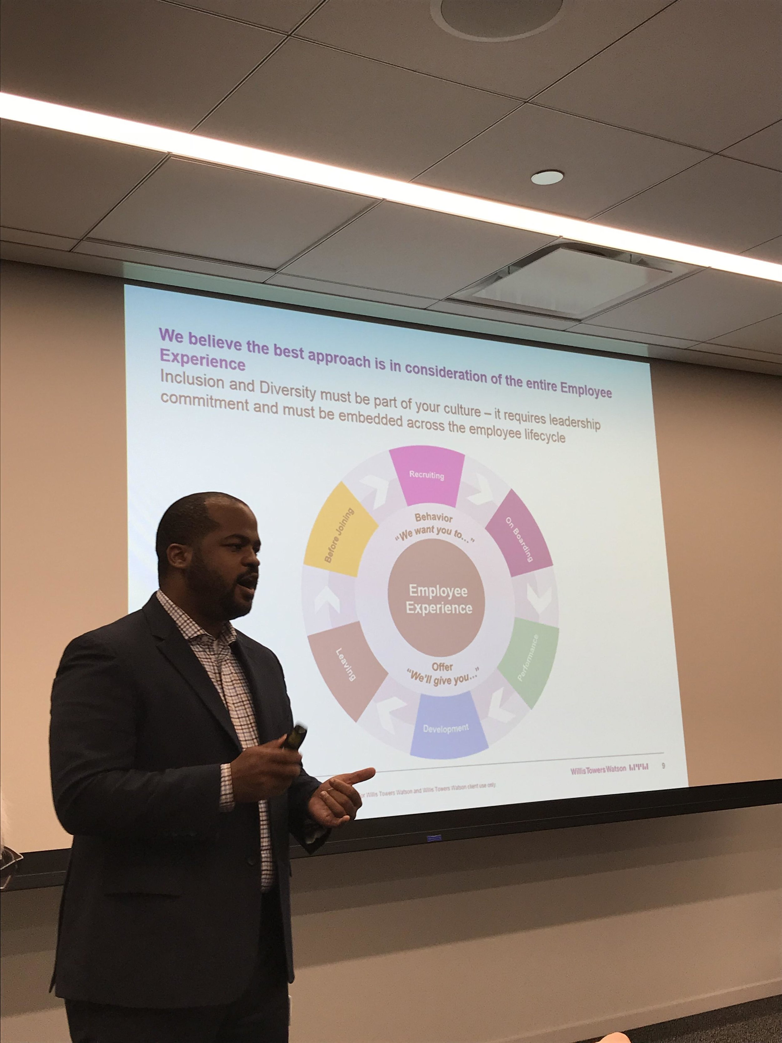 A speaker at a Citywide Pride event at Willis Towers Watson