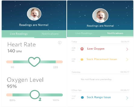 Baby Monitor Mobile Application - Baby monitor application is a health monitoring application which works in tandem with a baby sock which continuously monitors baby's vital statistics, sleep cycles and overall baby activity. As part of the project, I created a high fidelity prototype for the mobile application.