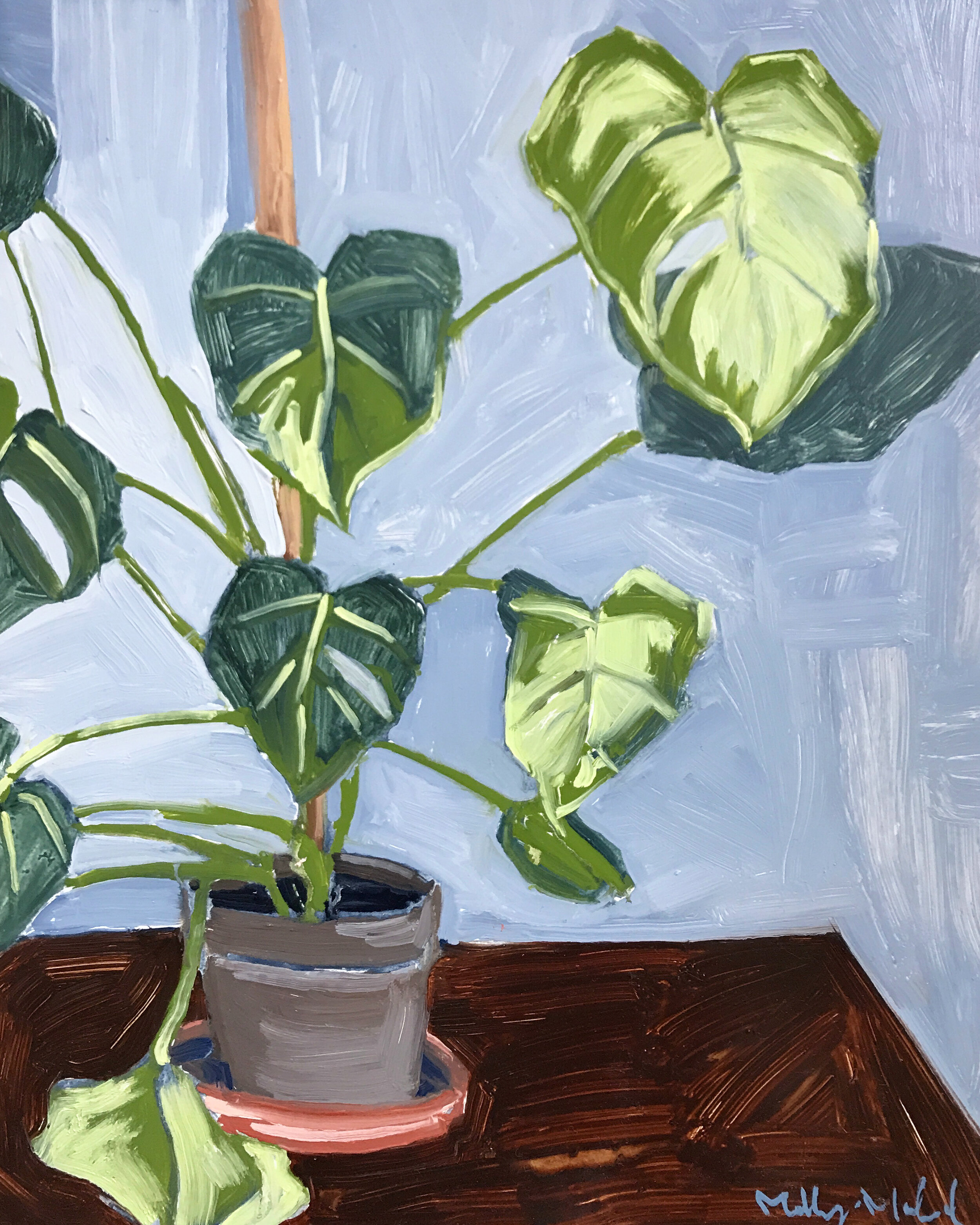 potted monstera house plant oil painting