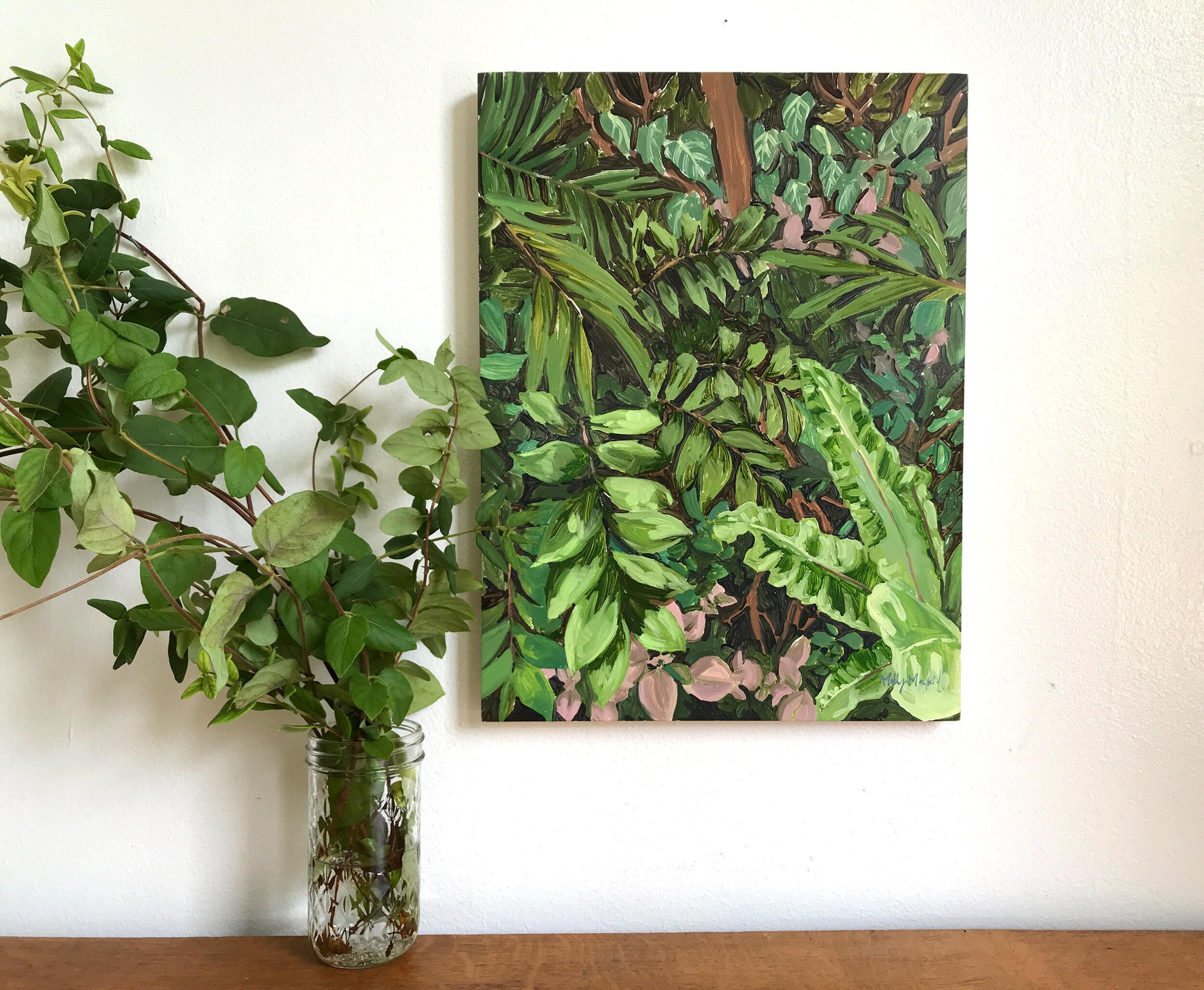 jungle oil painting lush leaves artwork