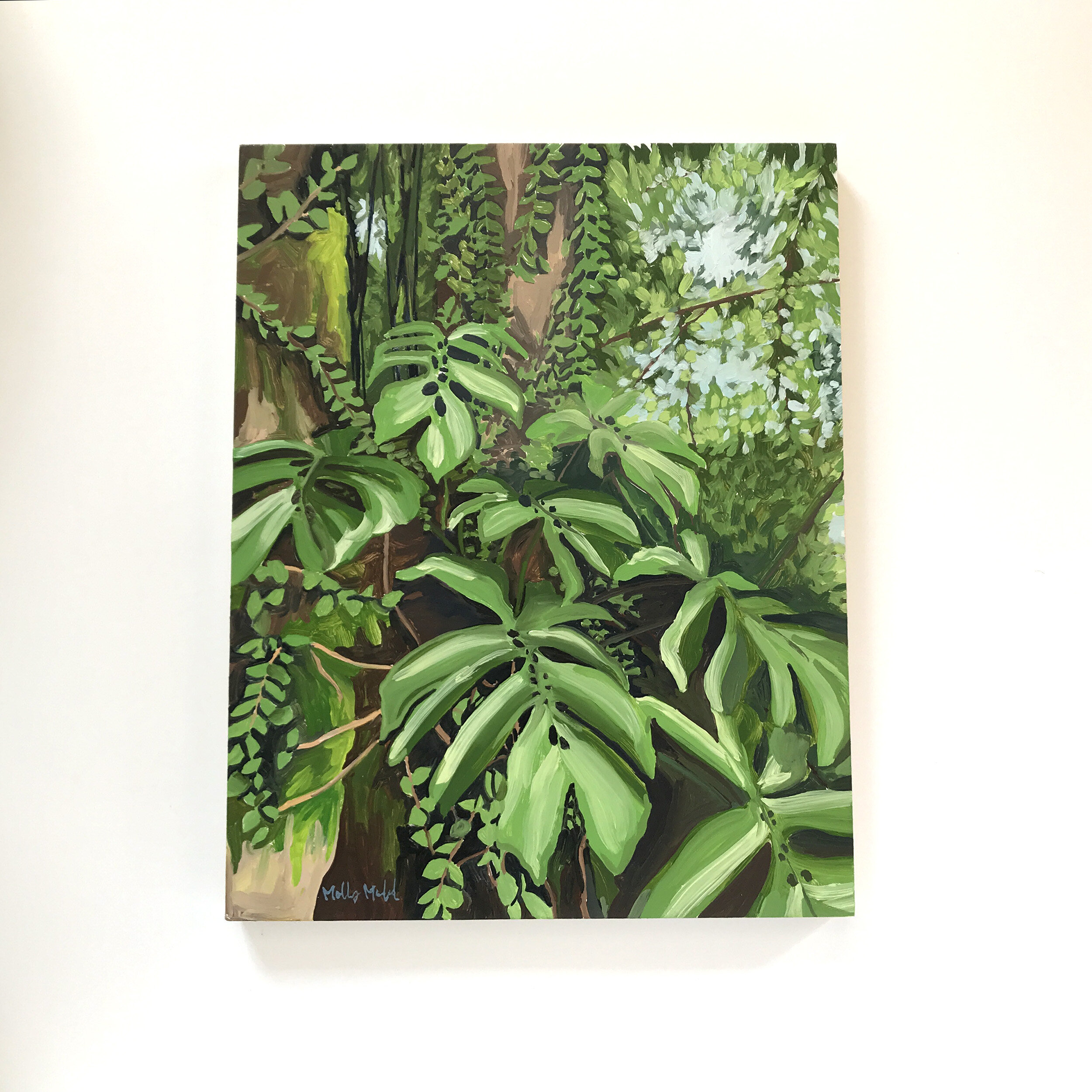 jungle oil painting philodendron