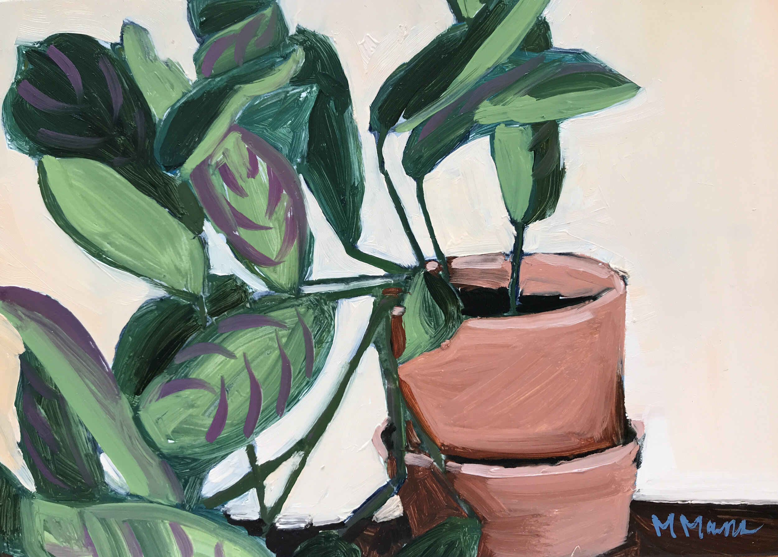 prayer plant oil painting potted house plant