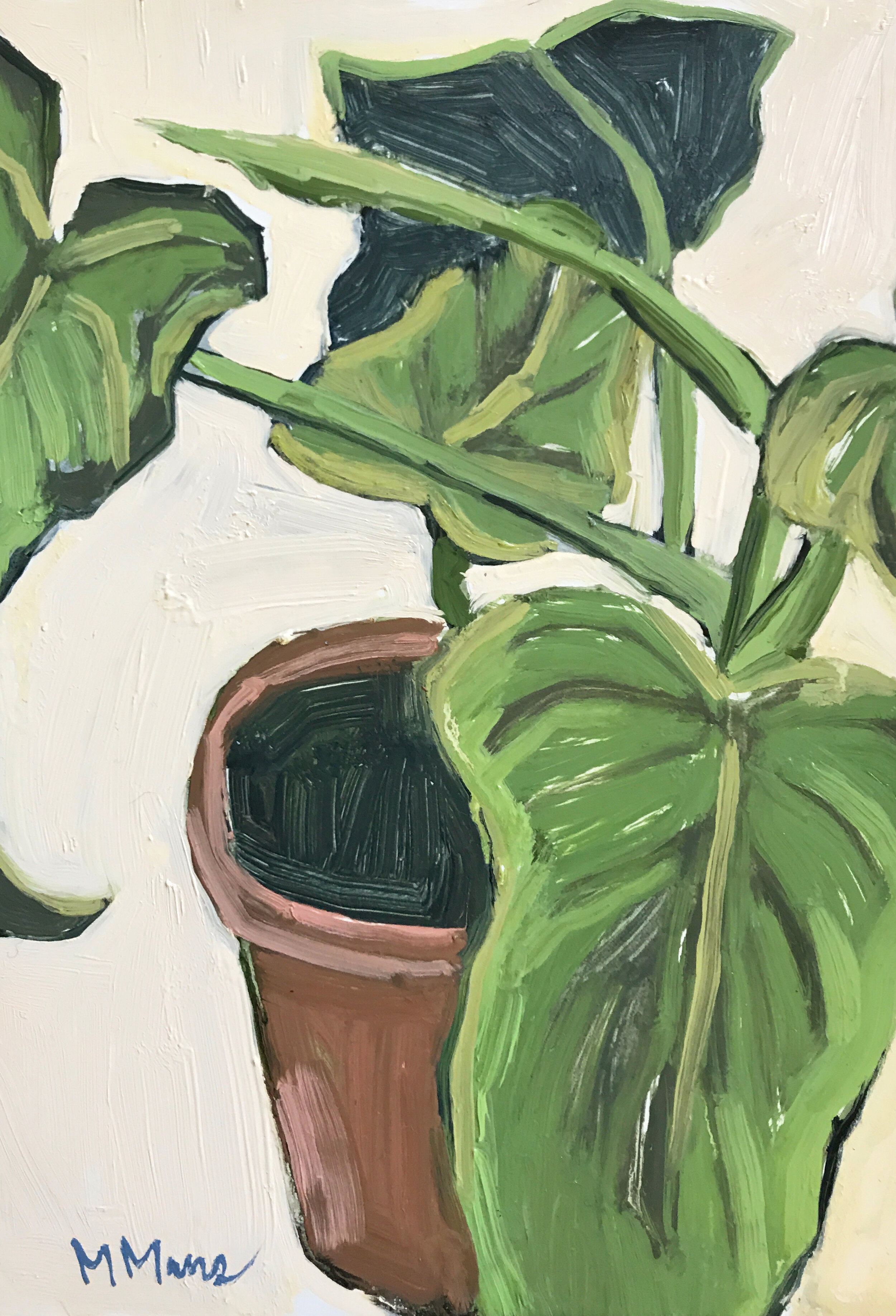 philodendron painting potted houseplant