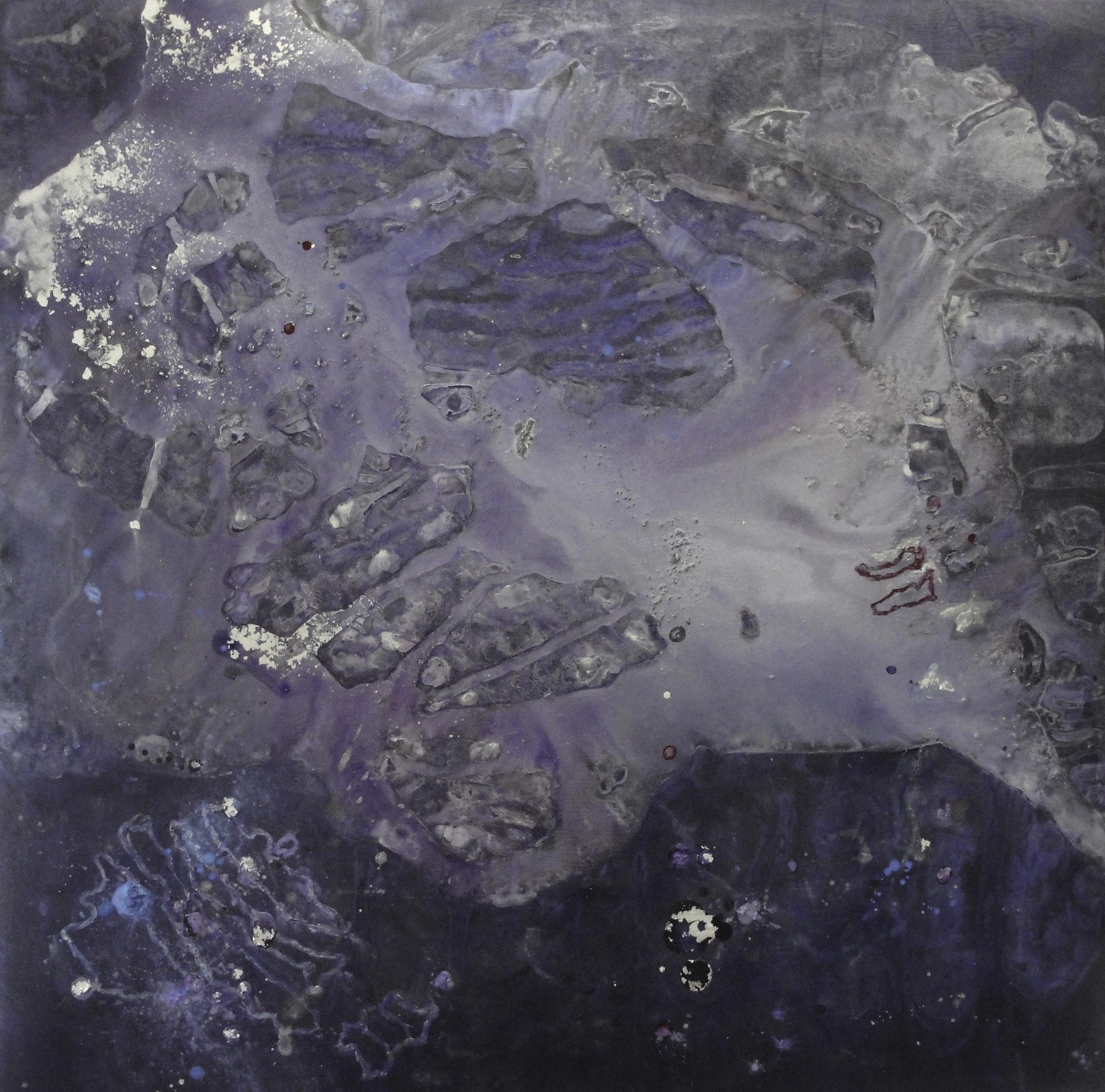 """Ripple,  2012  Duralar, enamel, ink, gouache. 20"""" x 20"""""""