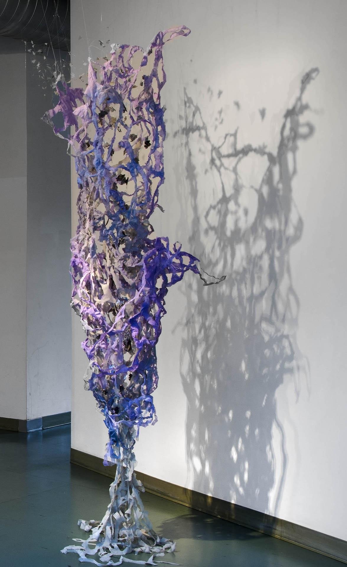 "Vortex,  2013  Pellon, wire, spray paint, nylon thread. 96"" x 37"""