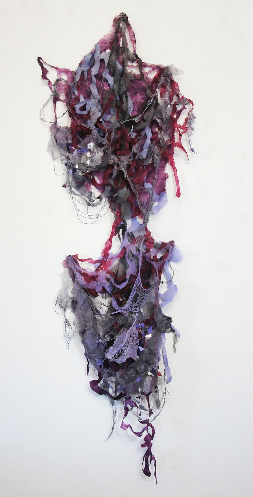 "Interlace 3,  2013  Pellon, mixed media, spray paint. 45""x 16 x 3"""