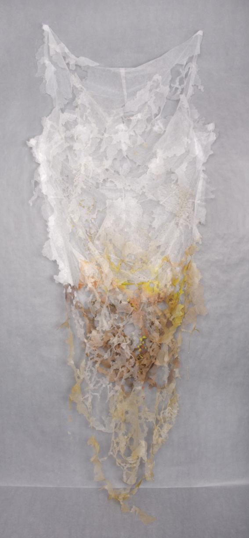 """Interlace 2,  2012  Pellon, spray paint, marker, nylon thread. 96"""" x 38"""" x 6"""""""