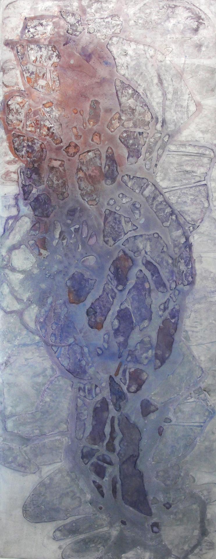 "Emerging,  2012  Duralar, enamel, ink, dry pigment. 53"" x 20"""