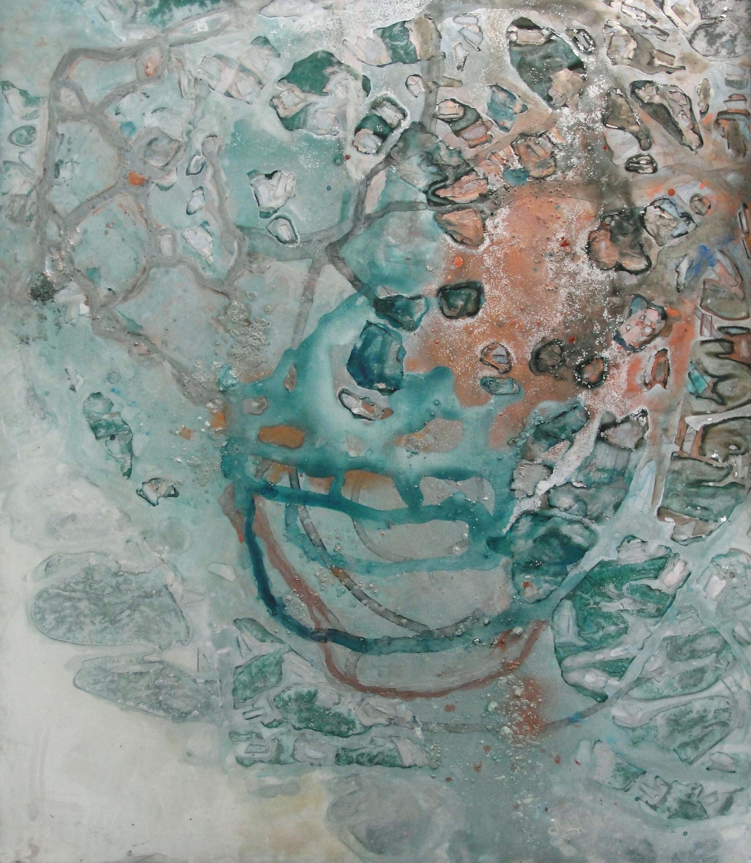 "Interstellar Fragments,  2012  Duralar, enamel, gouache. 20"" x 17 1/2"""