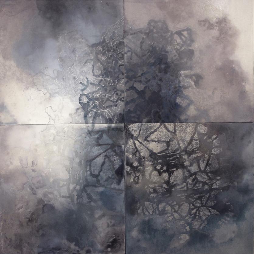 "Four Cosmos,  2010  Oil on panel, 80"" x 76"""