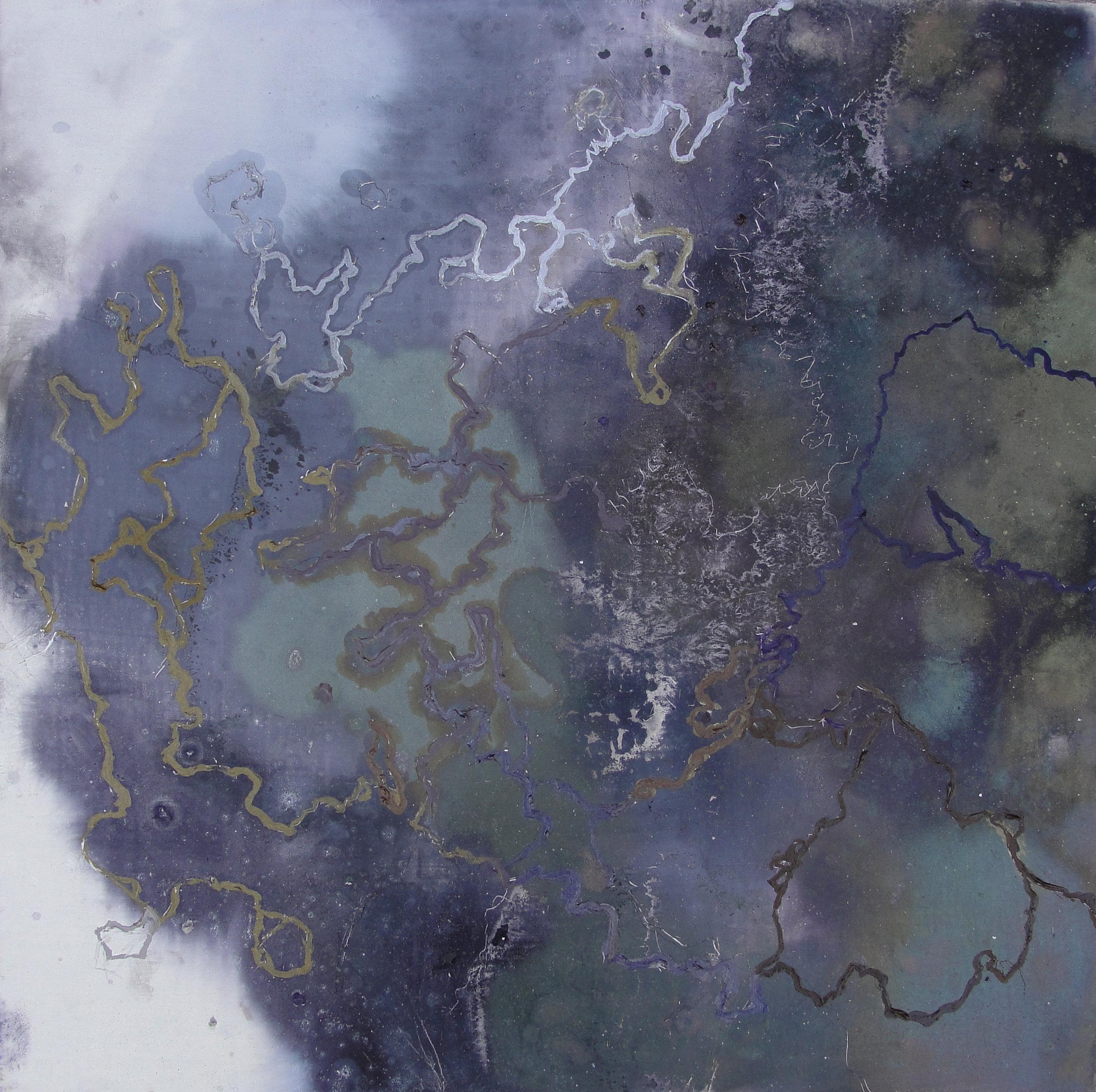 "Cosmic Fissure,  2011  Oil on panel, 12"" x 12"""