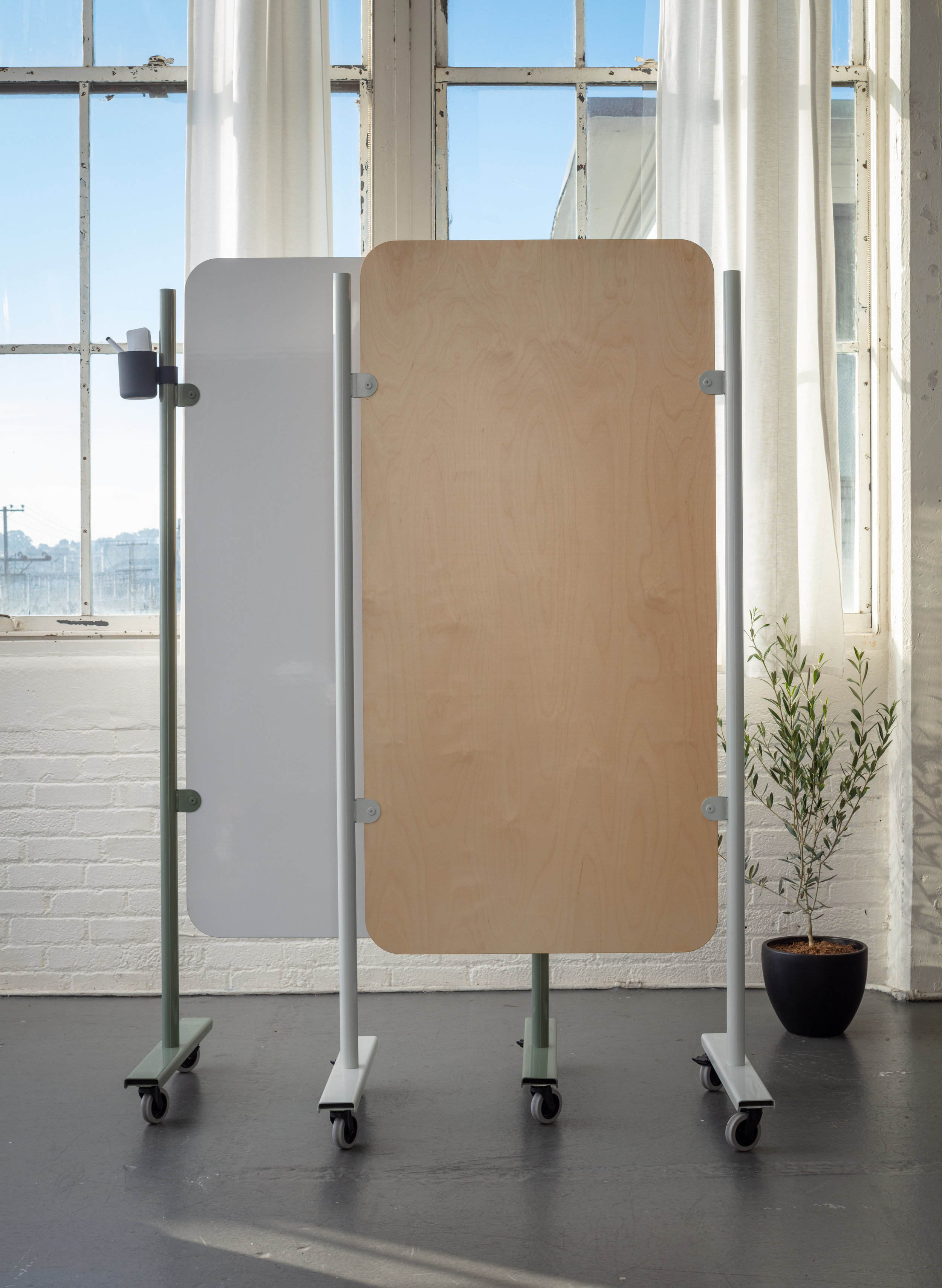 Mobile dry erase surface in white or baltic birch