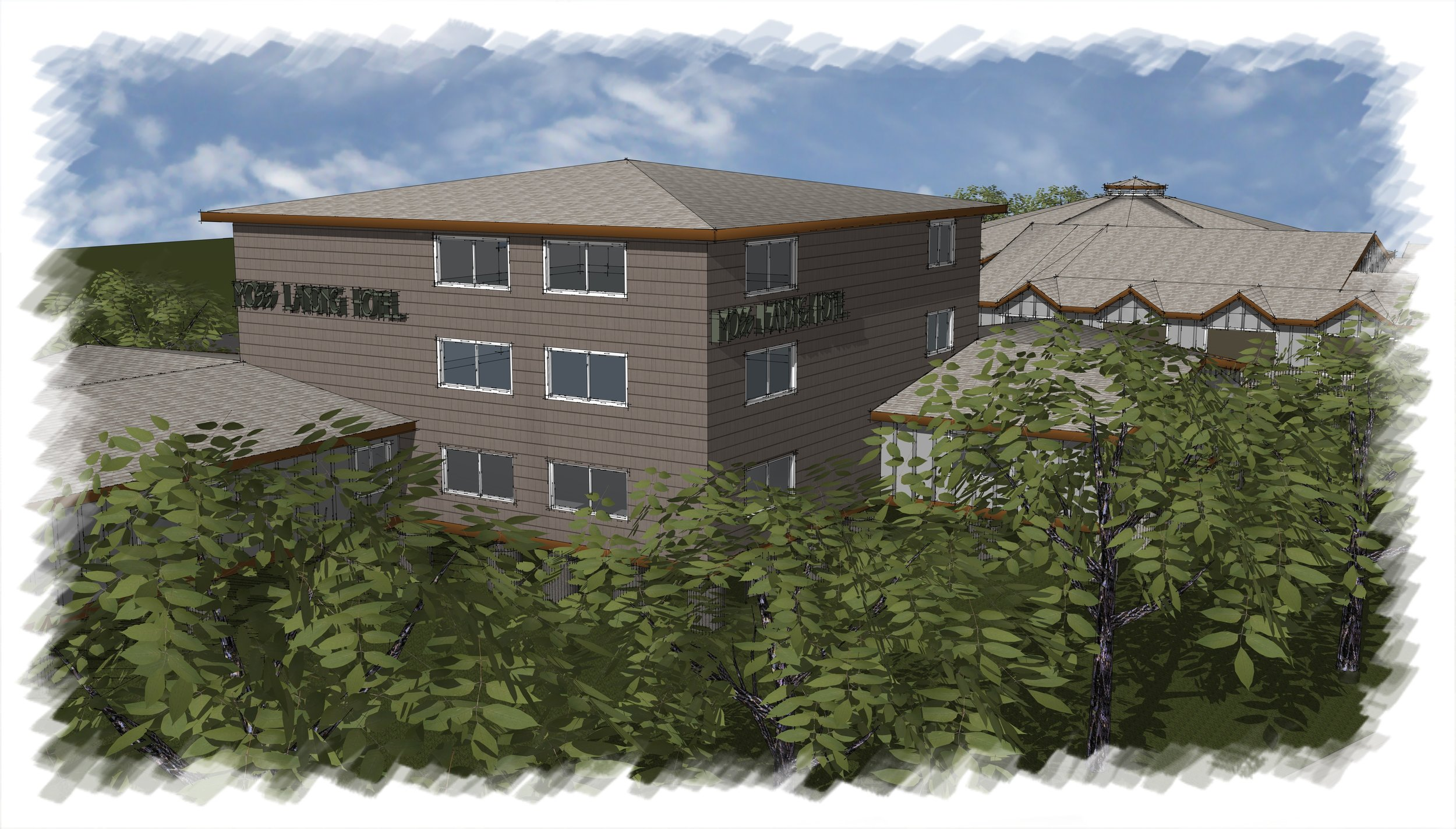 Artist's Rendering of the Hotel at Moss Landing Point
