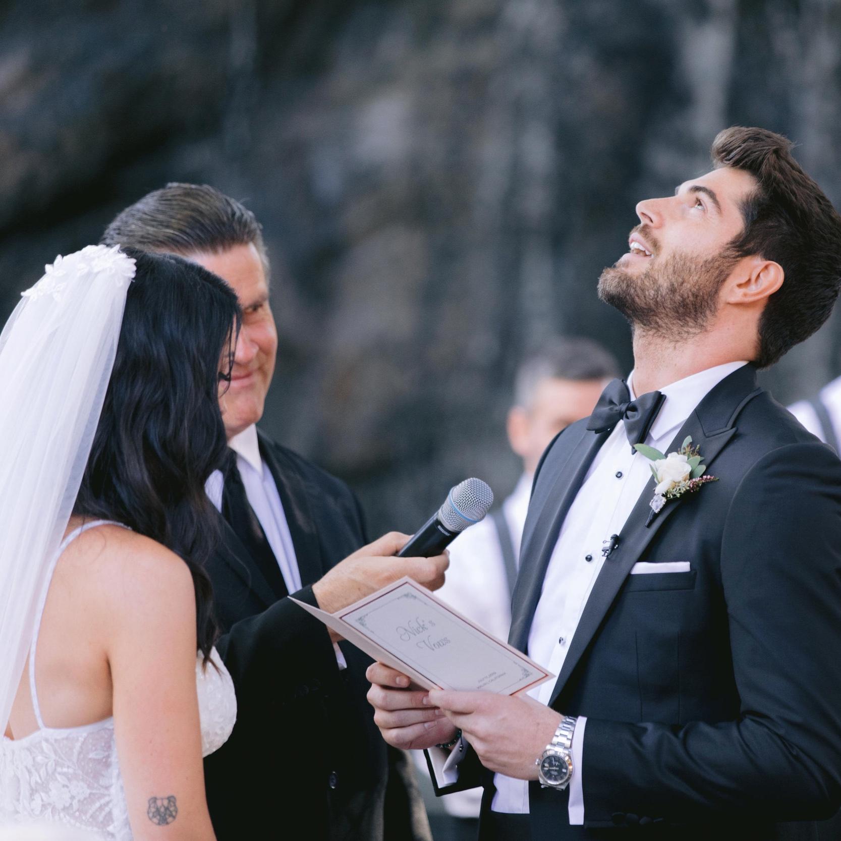 Nick choking up during his vows.