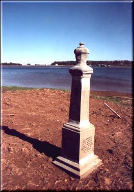 The monument to the Acadians, on the bank of the Fortune River.