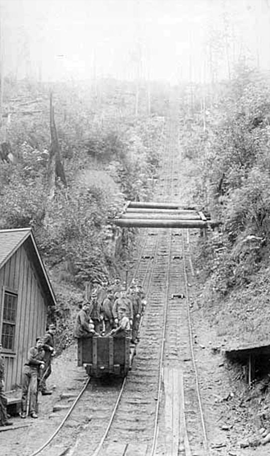 miners riding incline railway, carbonado, 1890s