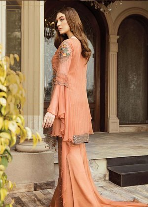 e48a454e4c Orignal Afrozeh Embroidered Chiffon Unstitched 3 Piece Suit OCHRE GLOW - Luxury  Collection Pakistani Designers