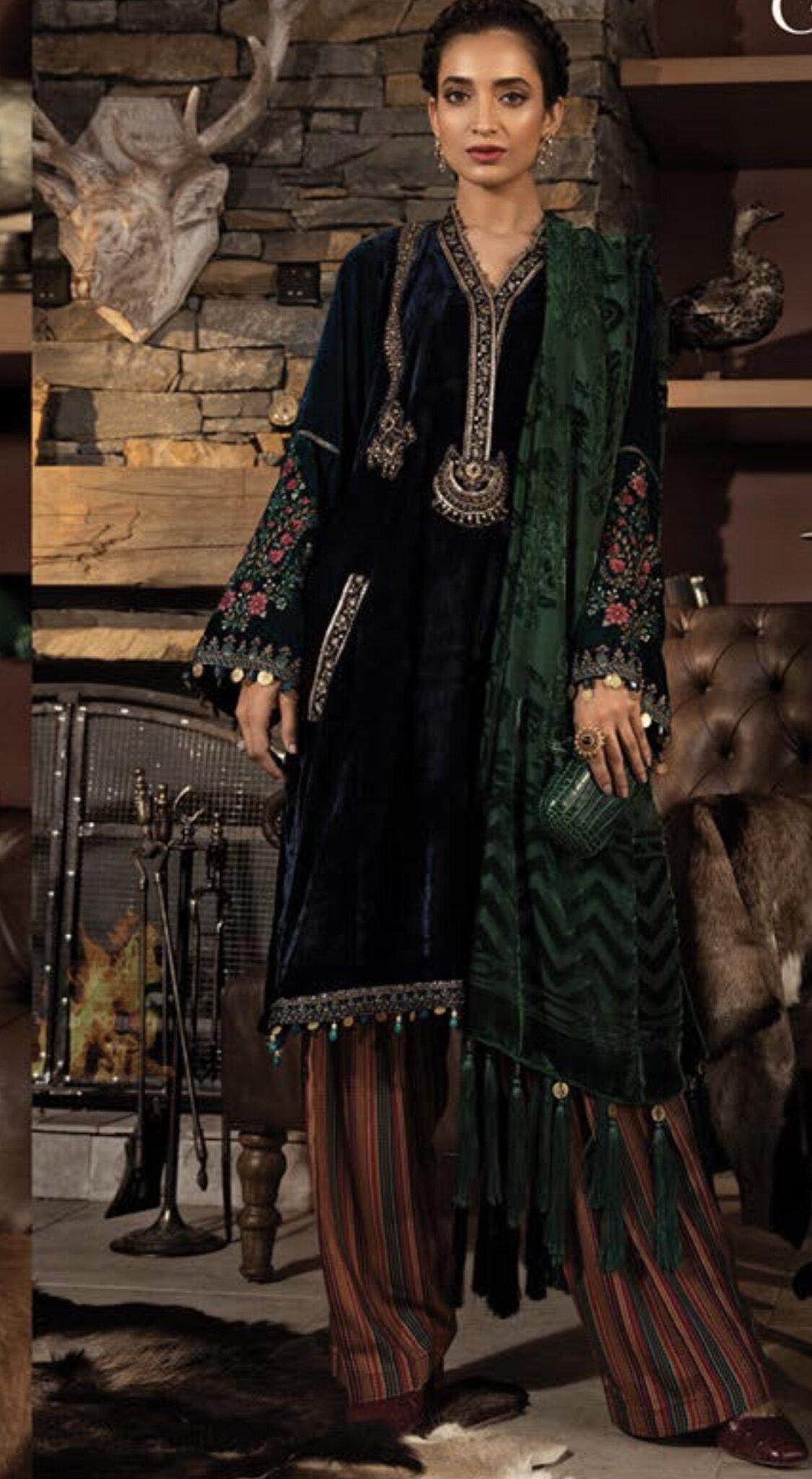 Pakistani Sanasafinaz inspired linen Stitched Salwar kameez suit