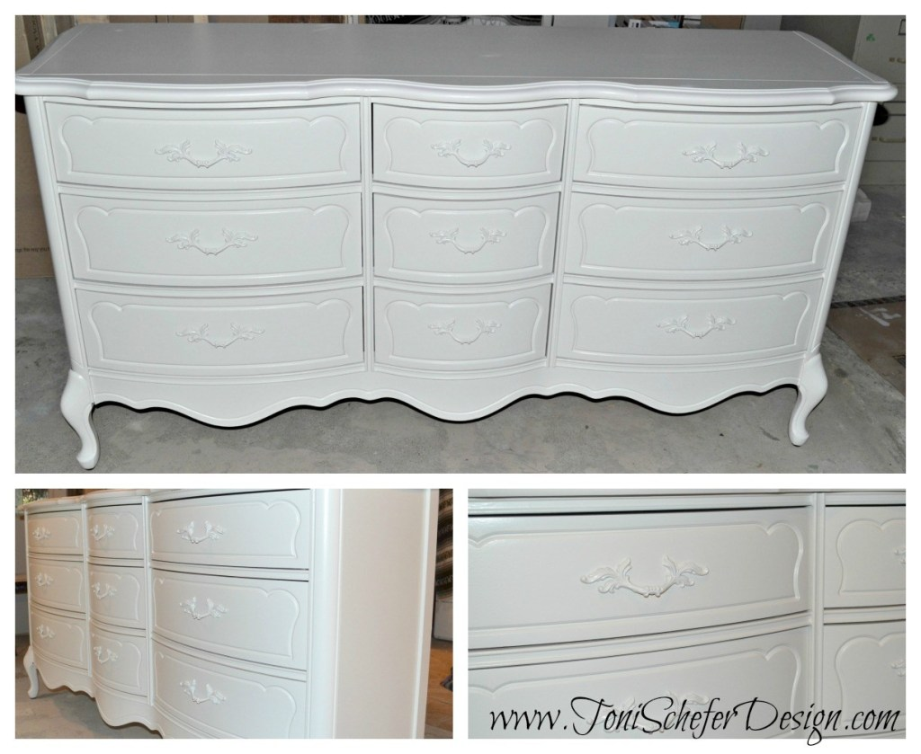 Cash Desk   We found this dresser on Used Victoria and thought it would make a great cash desk. The back just needed to be remove the drawers modified but it was the perfect size. I think this piece was my favorite because the lines and shape are so beautiful and painted in the white was gorgeous. The pictures don't do it any justice. I painted the hardware the same colour to make them blend in and just look like a pretty detail.