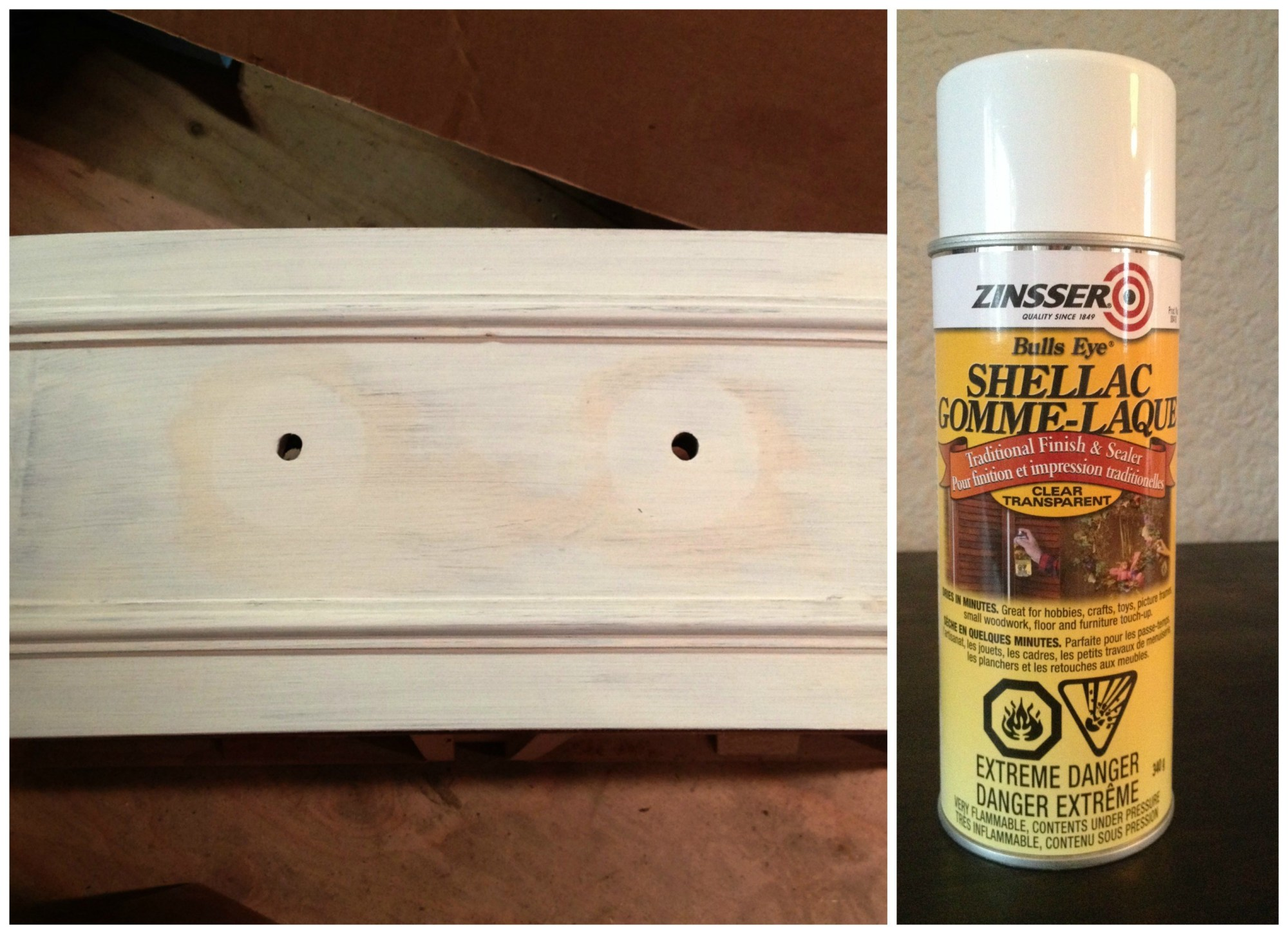 I sanded the finish off the top  because it was going to stain it and then gave the rest of the piece a light sand. Because I was using chalk paint on the body I didn't prime it but soon I was disappointed to see some staining coming through. It's so heartbreaking when this happens but it's easy fix. I used  Zinsser Shellac  which I purchased at Home Depot and it did the trick. I used the spray, it dried quickly and soon I was back on track.