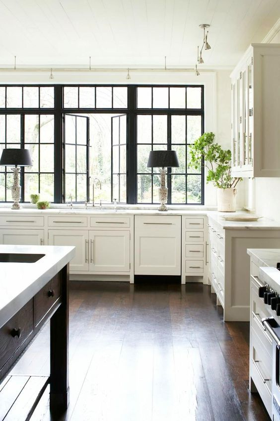 Love! Love! Love!!! this beautiful kitchen with the black windows and accents. Wow!    {hgtv}