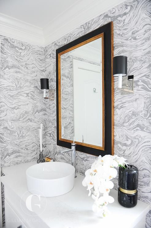 "It's just so pretty and it is an easy way to add that ""glam"" factor without the cost of real marble.    {decorpad.com}"