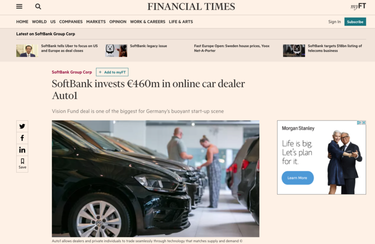 2018.01.19 - SoftBank Invests 460M in Auto1.png
