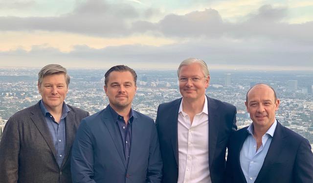 Leonardo DiCaprio with the Princeville Climate managing partners  From left to right: Eric Kosmowski, Leonardo DiCaprio, Emmanuel DeSousa, Joaquin Rodriguez Torres
