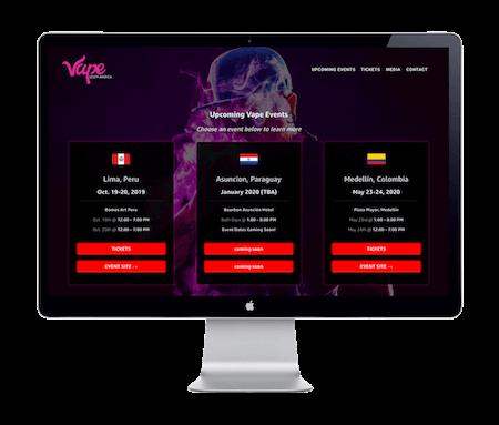 Vape South America Expo - Website Portfolio - Keegan Wozniak