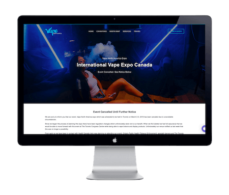 Vape North America Expo - Website Portfolio - Keegan Wozniak