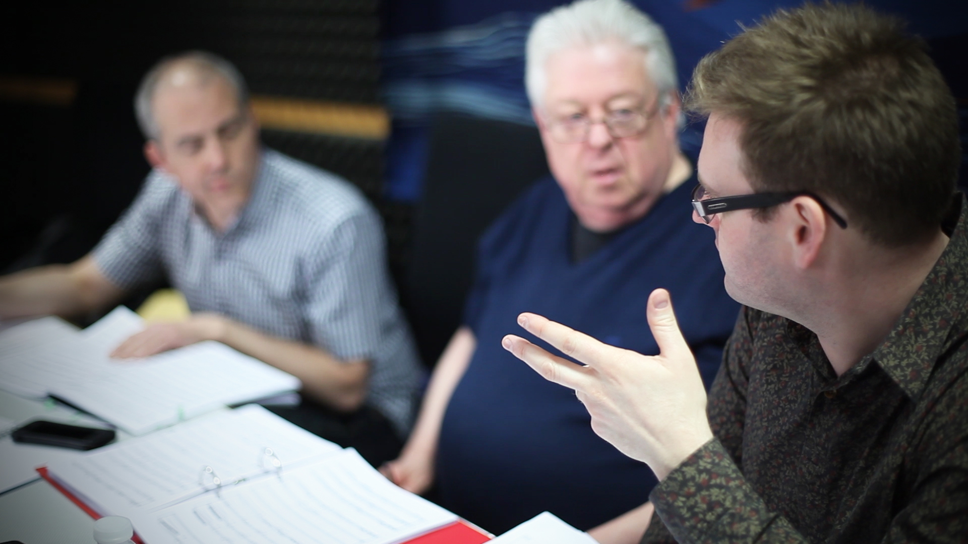 From right to left: Shea Lolin, Gary Carpenter and Christopher Hussey listening carefully to the takes of Twisted Skyscape at Smecky Studios for the first ever commercially recording of a woodwind orchestra.