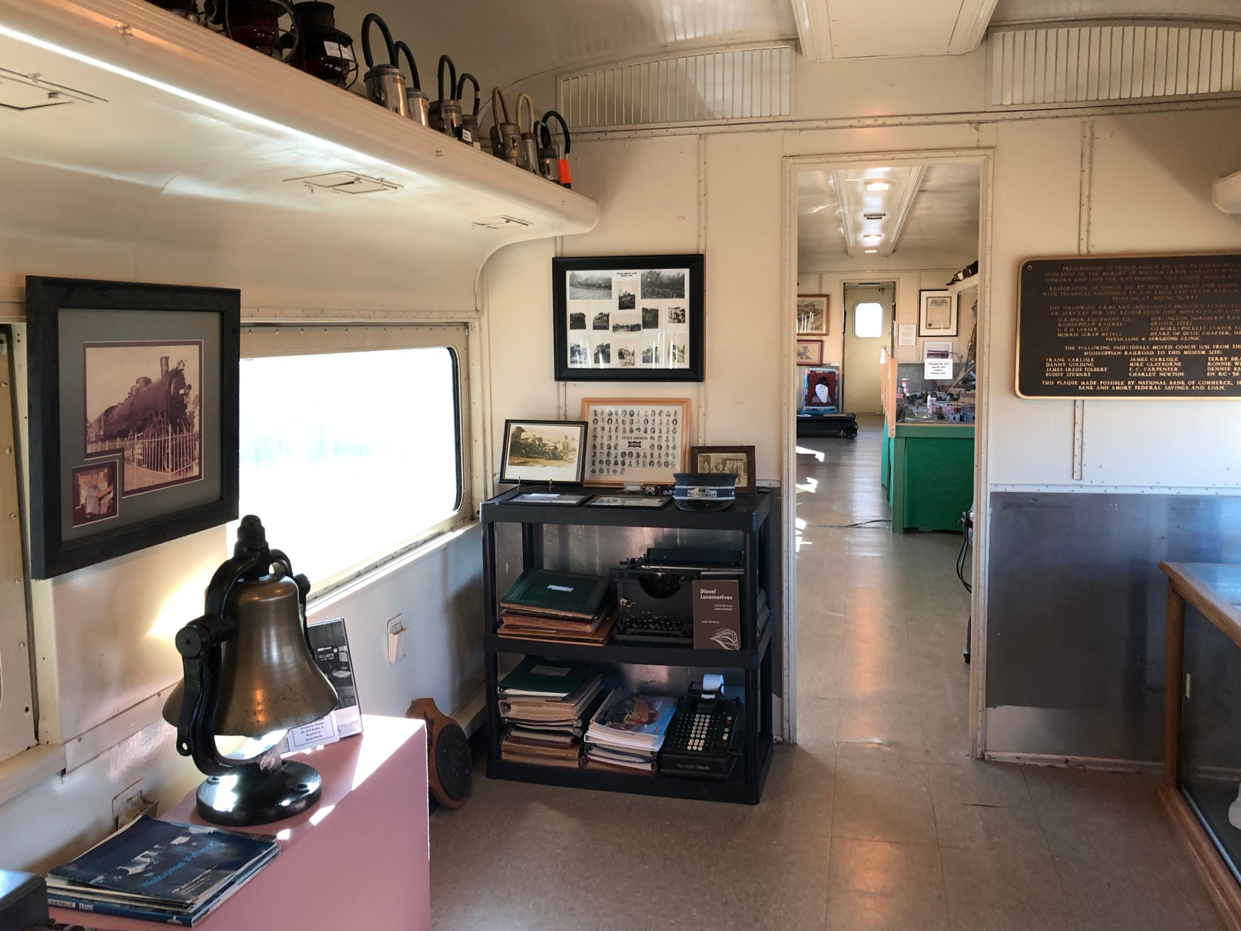 Exhibit room inside Frisco rail car