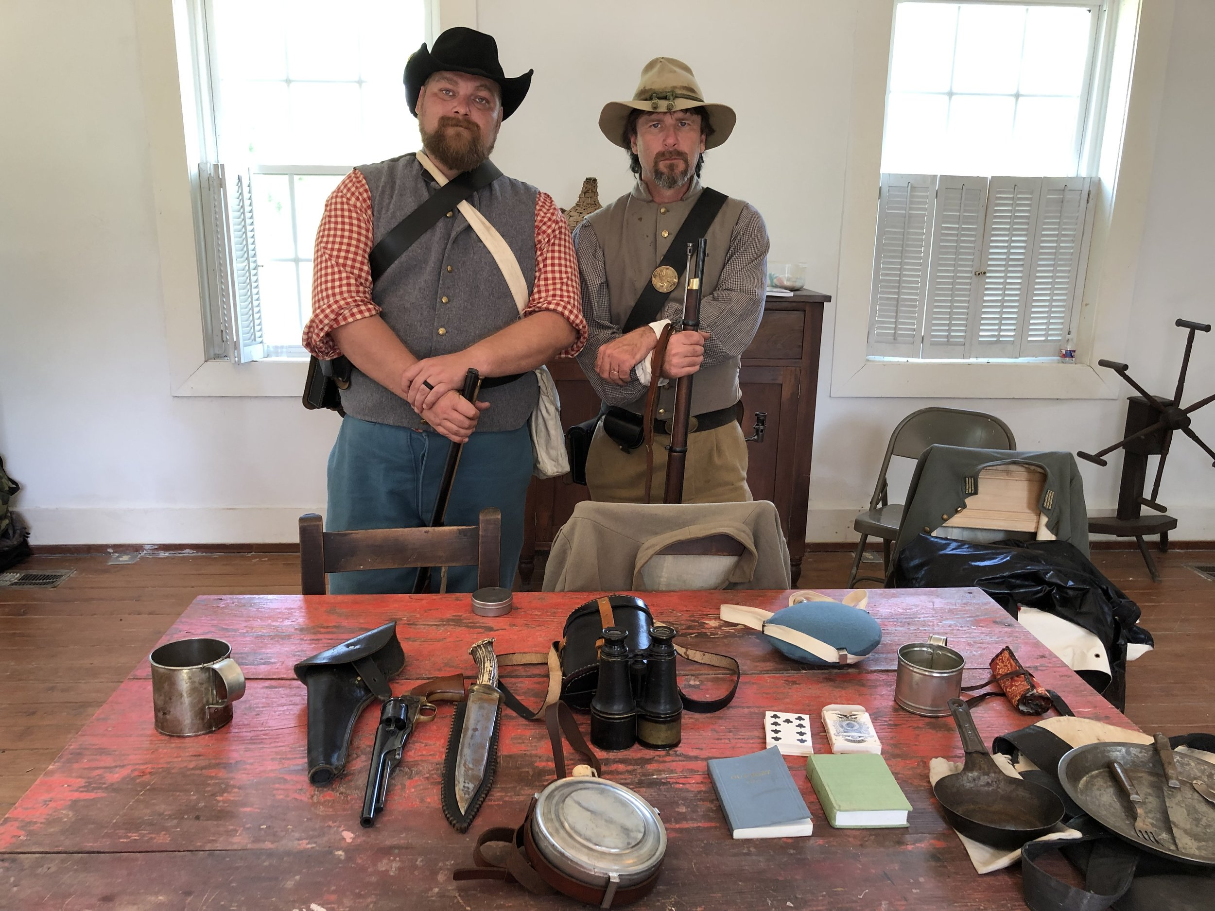 Reenactors from Mississippi 15th Regiment Infantry with their artifacts