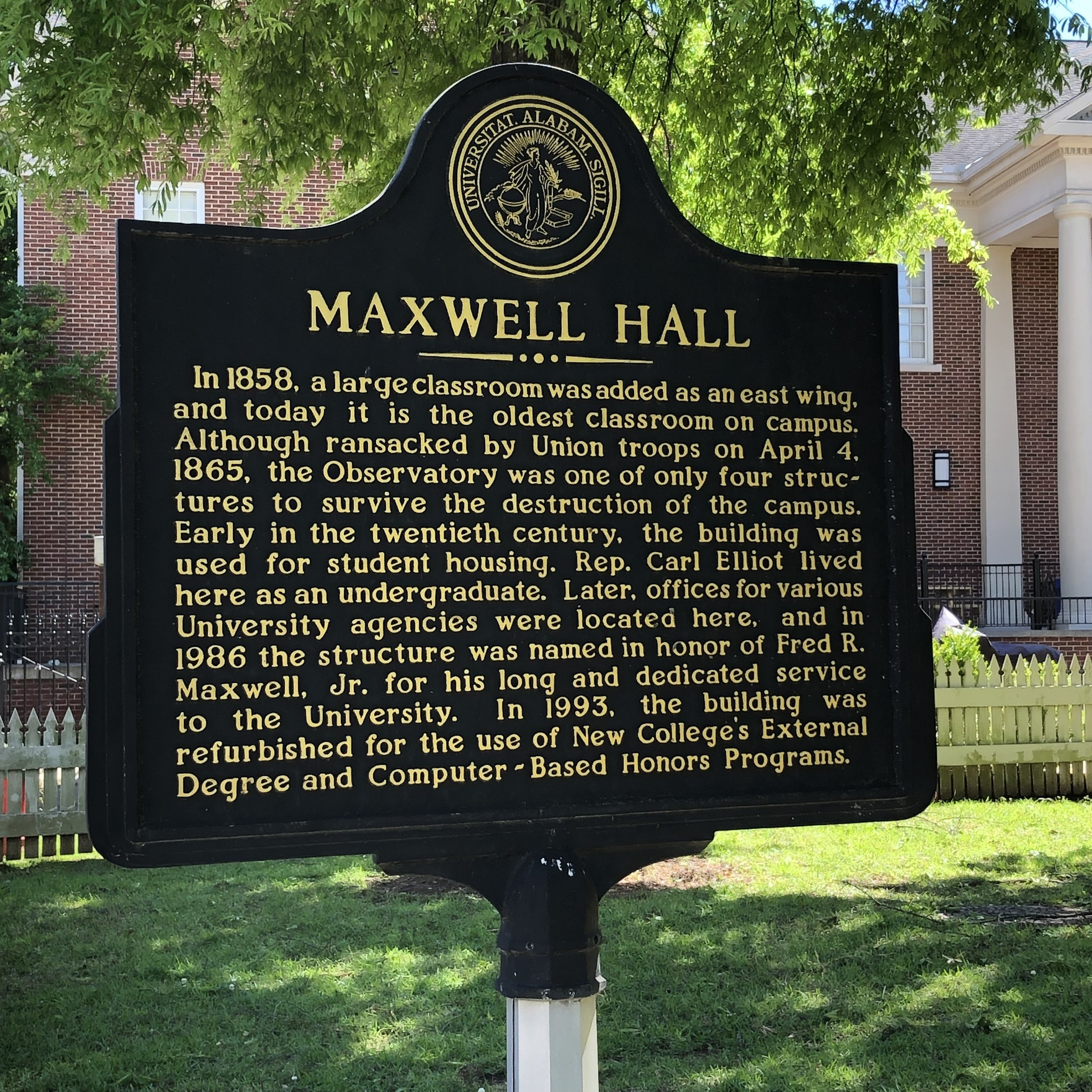 Maxwell Hall Marker Back, Univ of AL … Photo by Caroline Pugh