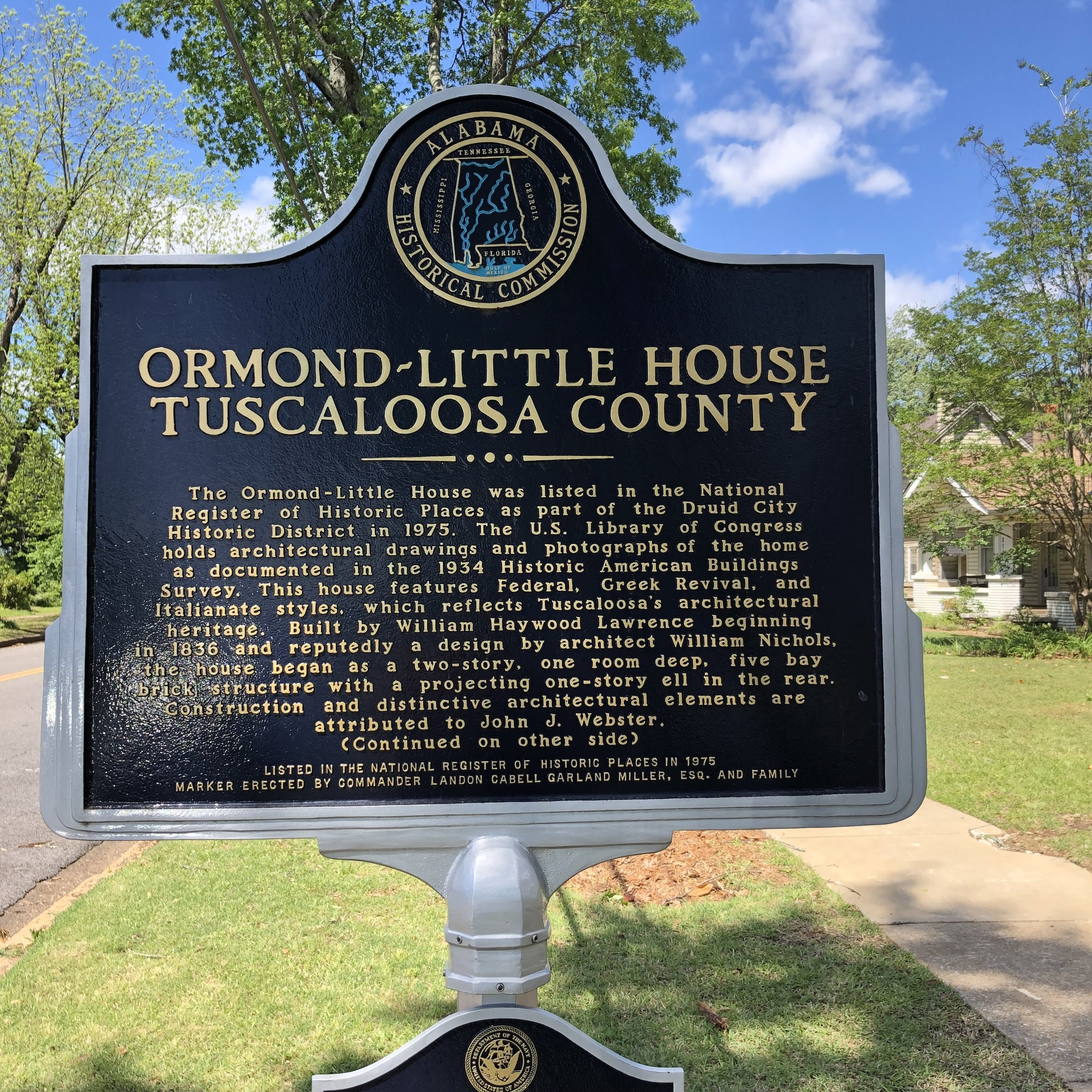 Ormond-Little House Marker, Front … Photo by Caroline Pugh