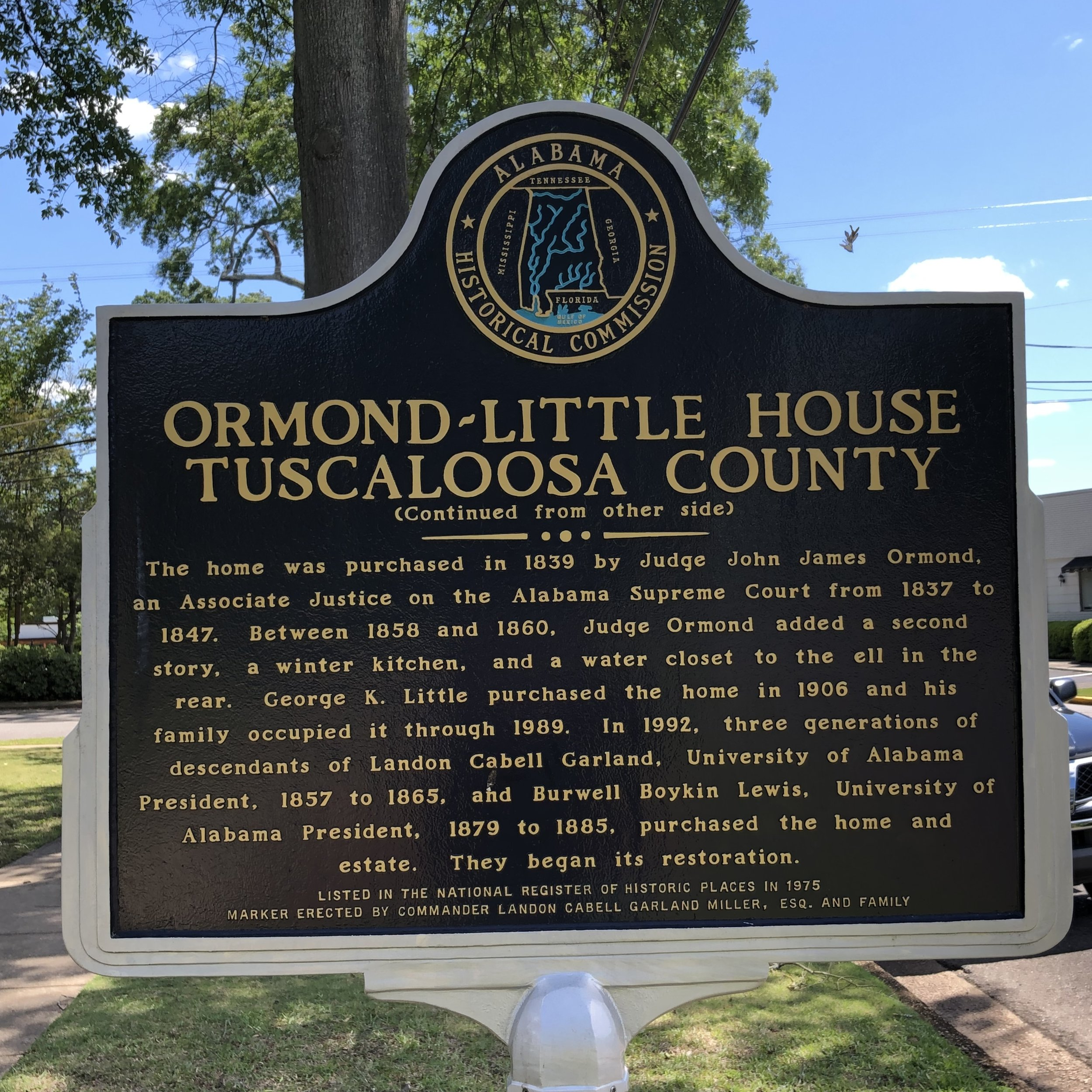 Ormond-Little House Marker, Back … Photo by Caroline Pugh