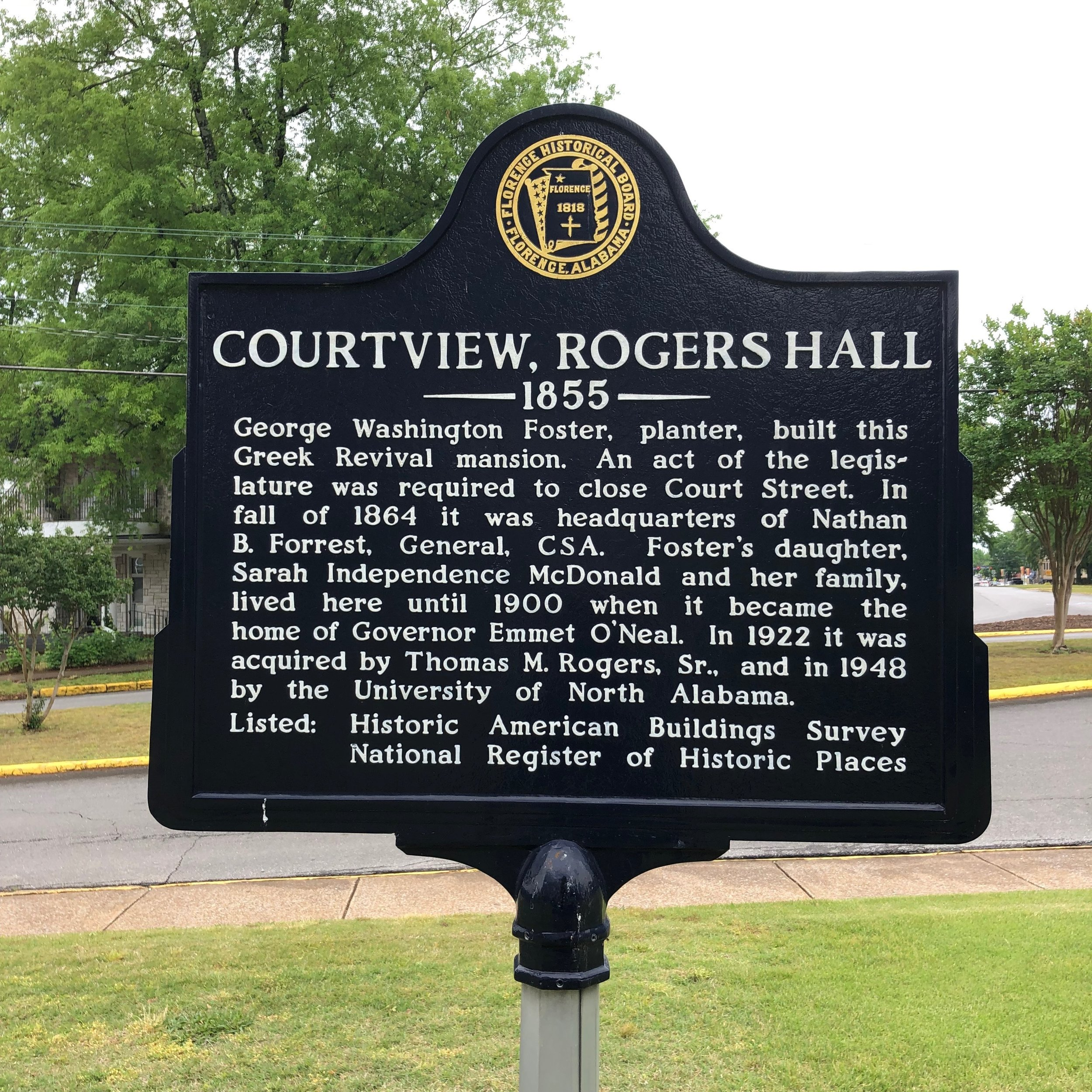 Courtview, Rogers Hall Marker, Florence, AL.JPG