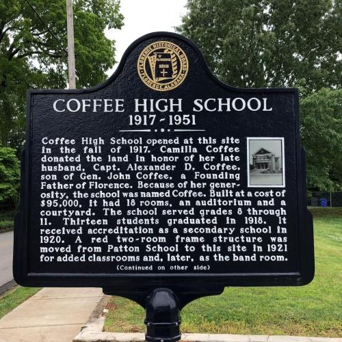 Coffee High School Marker, Side 1, Florence, AL.JPG