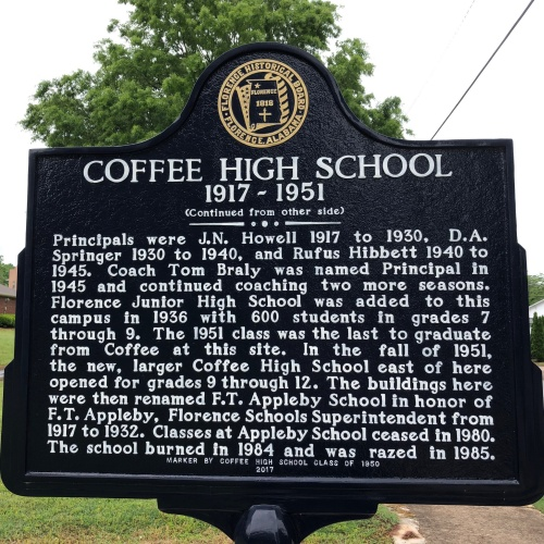 Coffee High School Marker, Side 2, Florence, AL.JPG