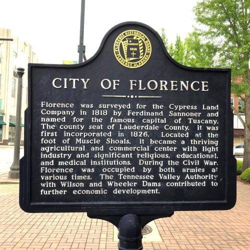 City of Florence Marker, Florence, AL.JPG