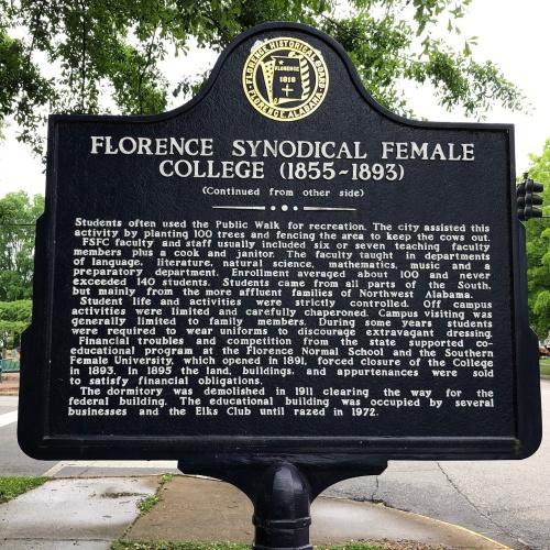 Florence Synodical Female College Marker, Side 2, Florence, AL.JPG